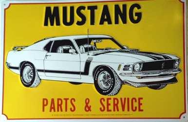 FORD MUSTANG BOSS WHITE SIGN