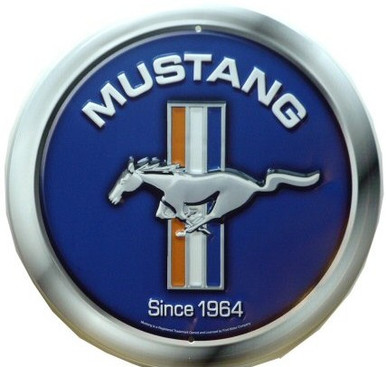 FORD MUSTANG LOGO, BLUE ROUND SIGN