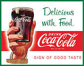 """COKE SIGN MEASURES 16"""" X 12 1/2"""" WITH HOLES IN EACH CORNER FOR EASY MOUNTING"""