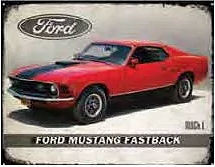 """70 FORD MUSTANG FASTBACK RUSTIC TIN SIGN MEASURES 15"""" X 12"""" WITH HOLES FOR EASY MOUNTING"""