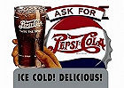 "PEPSI ASK FOR DELICIOUS TIN SIGN MEASURES 16"" X 12.5""  WITH HOLES FOR EASY MOUNTING"