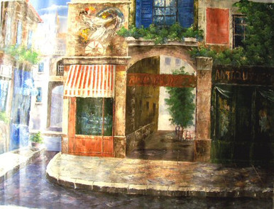 Photo of ANTIQUE SHOPPE OLD TOWN LARGE, OIL PAINTING