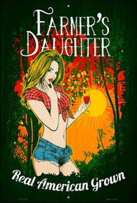 """FARMER'S DAUGHTER 12"""" X 18"""" METAL SIGN, WITH HOLES FOR EASY MOUNTING"""