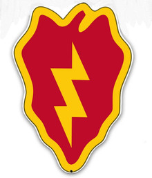 """THE 25TH INFANTRY DIVISION """"TROPIC LIGHTNING"""" IS ROUGHLY 12"""" X 16""""  WITH HOLE(S) FOR EASY MOUNTING.  HEAVY METAL VINTAGE SHAPED SIGN (SUBLIMATION PROCESS) MEASURES ABOUT 12"""" X 16"""" WITH HOLE(S) FOR EASY MOUNTING WEIGHS APOX. 2 POUNDS. THIS IS A SPECIAL ORDER SIGN, NORMALLY TAKES 2-3 WEEKS FOR DELIVERY. The price for shipping on this product is calculated for the 48 contiguous United States, Alaska, Hawaii and all other countries will require additional shipping cost. We do not have the option to add any charges to your credit card, so once we have an accurate shipping cost we will contact you and explain how to cover the additional shipping cost, If at that point you feel it is too much, we can send a refund to your credit card for the full amount of your purchase. Thanks, Clark, Old Time Signs"""