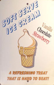 """SMALL RETRO ICE CREAM SIGN MEASURES 8"""" X 12"""" WITH HOLES TOP & BOTTOM CENTER TO MOUNT SIGN  WEONLY HAVE ONE"""