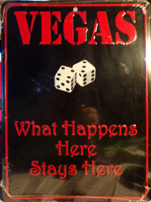 """SMALL EMBOSSED RETRO DICE SIGN MEASURES 9"""" X 12"""" WITH HOLE AT TOP CENTER TO MOUNT SIGN  WE ONLY HAVE ONE"""