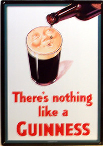 GUINNESS TIN SIGN WITH HOLES IN EACH CORNER FOR EASY MOUNTING.