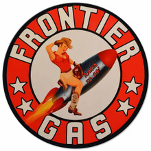 """HEAVY METAL VINTAGE SHAPED SIGN (SUBLIMATION PROCESS) MEASURES 14"""" ROUND WITH HOLE FOR EASY MOUNTING WEIGHS APOX. 2 POUNDS. THIS IS A SPECIAL ORDER SIGN, NORMALLY TAKES 2-3 WEEKS TO SHIP. The price for shipping on this product is calculated for the 48 contiguous United States, Alaska, Hawaii and all other countries will require additional shipping cost. We do not have the option to add any charges to your credit card, so once we have an accurate shipping cost we will contact you and explain how to cover the additional shipping cost, If at that point you feel it is too much, we can send a refund to your credit card for the full amount of your purchase. Thanks, Clark, Old Time Signs"""
