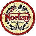 """12"""" ROUND METAL NORTON MOTORCYCLE SIGN , WITH HOLES FOR EASY MOUNTING"""