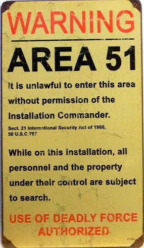Photo of AREA 51 ENAMEL SIGN, ON HEAVY METAL GREAT FOR THE CONSPIRACY PERSON
