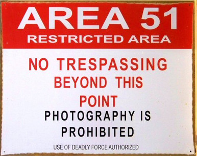 """Photo of AREA 51 """"RESTRICTED AREA"""" METAL SIGN, PRE-RUSTED FOR THAT AUTHENIC LOOK"""