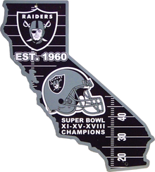 OAKLAND RAIDERS FOOTBALL DIE CUT STATE SIGN