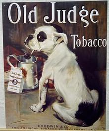 OLD JUDGE TOBACCO BULL DOG SIGN