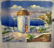 OLD WINDMILL OVERLOOKING SEA smallest OIL PAINTING