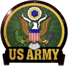 "ARMY Sign Size: 16"" w X 15 1/2"" h With Pre-drilled Hole(s) for easy hanging Material: HEAVY DUTY Metal SUBLIMATION PROCESS."