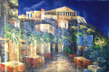 OUTSIDE CAFE WITH VIEW OF RUINS medium large OIL PAINTING