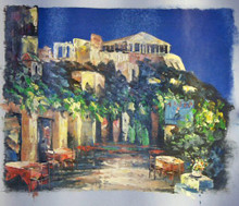OUTSIDE CAFE WITH VIEW OF RUINS smallest OIL PAINTING
