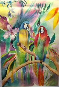 PARROTS IN JUNGLE medium large OIL PAINTING