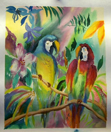 PARROTS IN JUNGLE smallest OIL PAINTING