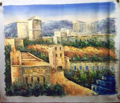 Photo of ATHENS SCENE 2 MEDIUM SIZED OIL PAINTING