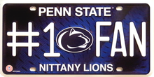 PENN STATE COLLEGE #1 FAN LICENSE PLATE
