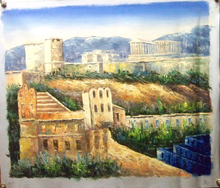 Photo of ATHENS SCENE 3 MEDIUM LARGE SIZED OIL PAINTING