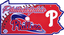 PHILADELPHIA PHILLYS BASEBALL DIE CUT STATE SIGN