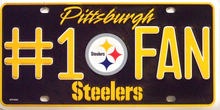 PITTSBURG STEELERS FOOTBALL #1 FAN LICENSE PLATE
