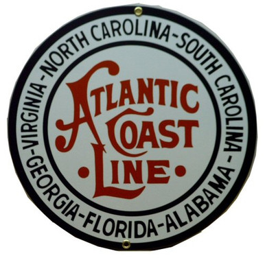 Photo of ATLANTIC COAST RR PORCELAIN TRAIN SIGN RICH COLOR AND GRAPHICS