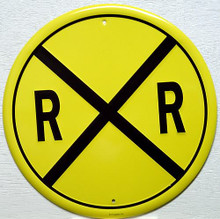 RAILROAD CROSSING TRAIN ROUND SIGN