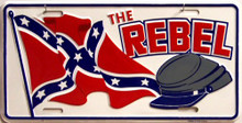 REBEL FLAG & CAP LICENSE PLATE