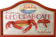 "RED CRAB CAFÉ WOOD PUB SIGN, GREAT COLORS AND DETAIL, THE WOOD FRAME IS ABOUT 3/4"" DEEP.  THIS SIGN IS OUT OF PRODUCTION, WE HAVE ONLY THREE LEFT."