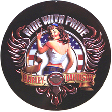 HARLEY RIDE WITH PRIDE DIE-CUT & EMBOSSED MOTORCYCLE SIGN