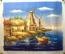 ROW BOATS BY WINDMILLS medium OIL PAINTING