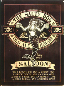 SALTY DOG SALOON MERMAID VINTAGE ENAMEL SIGN