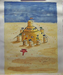 SAND CASTLE small OIL PAINTING