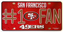 SAN FRANCISCO 49ERS FOOTBALL # 1 FAN LICENSE PLATE