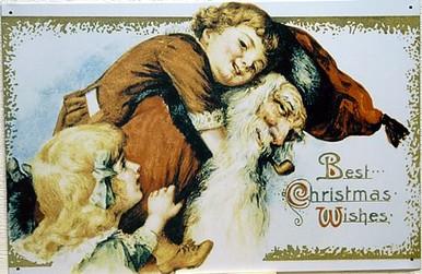 SANTA 2 GIRLS/ PIGGY BK CHRISTMAS SIGN