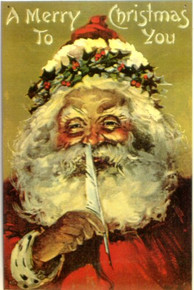 SANTA  RED QUILL PEN CHRISTMAS SIGN