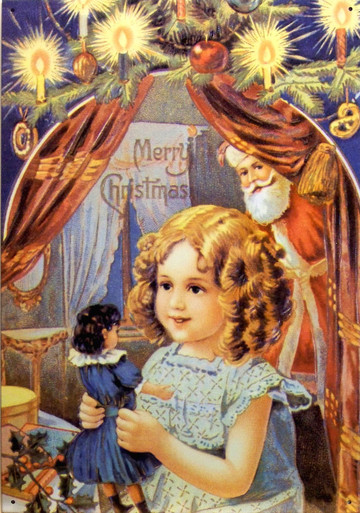 SANTA WITH GIRL & DOLL CHRISTMAS SIGN