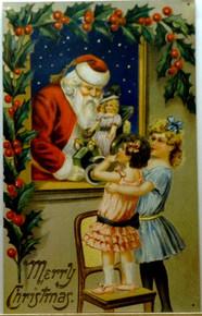 SANTA @ WINDOW W/GIRLS CHRISTMAS SIGN