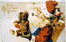SANTA W/TEDDY BEAR CHRISTMAS SIGN
