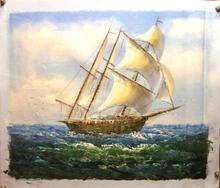 SHIP SAILING AT SEA medium OIL PAINTING