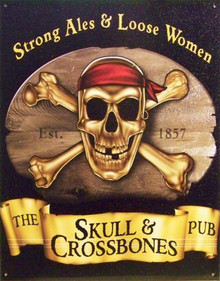 SKULL & CROSS BONES PUB (VERT.) SIGN