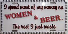 SPEND MONEY - BEER & WOMEN LICENSE PLATE