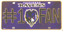 Photo of BALTIMORE RAVENS #1 FAN EMBOSSED LICENSE PLATE