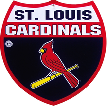 ST. LOUIS CARDINALS BASEBALL DIE CUT INTERSTATE SIGN