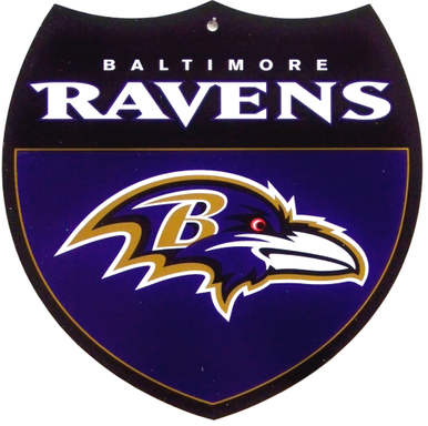 Photo of BALTIMORE RAVENS DIE CUT INTERSTATE COLORFUL SIGN