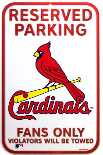 ST. LOUIS CARDINALS BASEBALL RESERVED PARKING SIGN