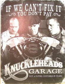STOOGES KNUCKELHEAD GARAGE SIGN